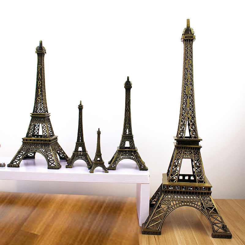 Fashion Romantic Retro Metal Crafts  Bronze Tone Paris Effiel Tower Figurine Statue Home Decor
