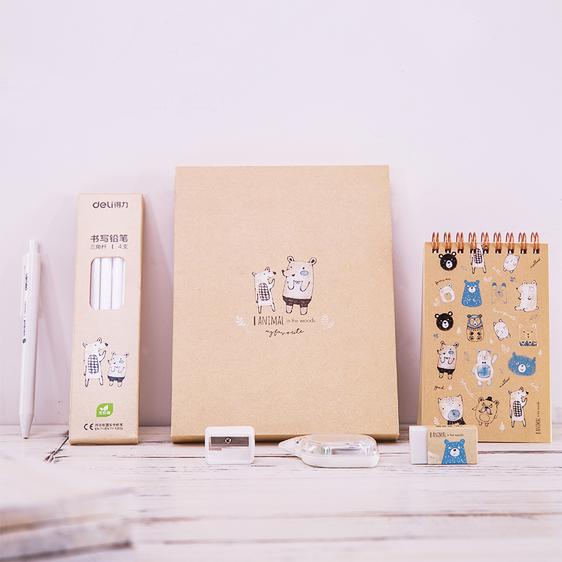 Купить с кэшбэком Deli creative cute stationery set for school kids gift supply A6 notebook gel pen normal pencil sharpener eraser correction tape