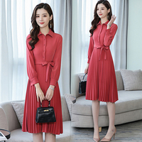 Temperament Fashion Pleated Dress Brick Red Full Sleeve Dresses Woman Peter Pan Collar Office Lady Women's Clothing