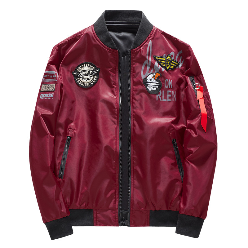 Image 3 - Male Bomber Jacket Men Army Military Pilot Jacket Badge Embroidery Baseball Jacket Double Sided Motorcycle Coat Big Size 5XL 6XL-in Jackets from Men's Clothing