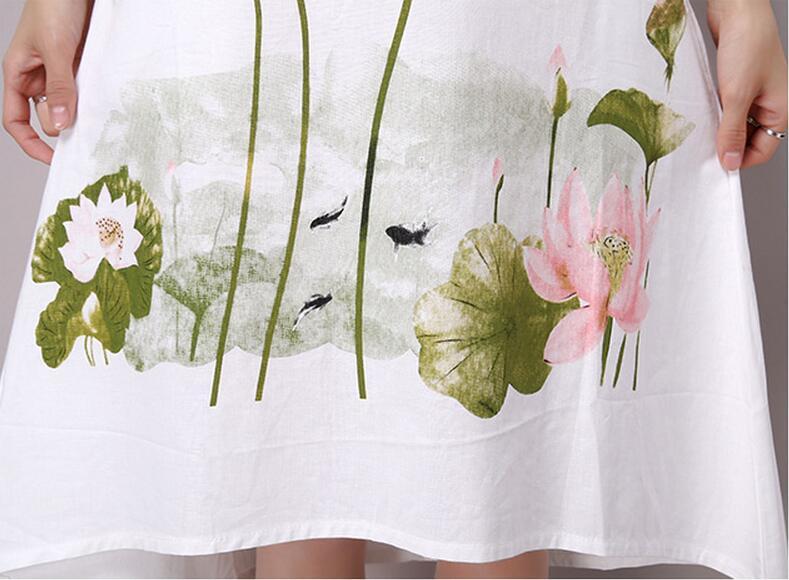 Saiqigui Summer Dress Plus Size Short Sleeve White Women Dress Casual Cotton Linen Dress Lotus Printing O-Neck Vestidos de Festa 2