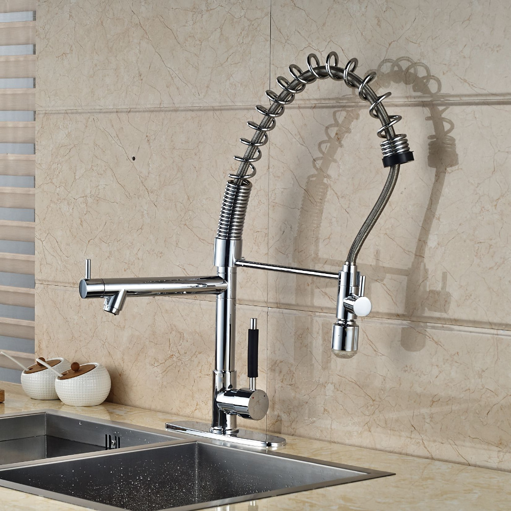 LED Chrome Kitchen Faucet Dual Spouts Spring Vessel Sink Mixer Tap good quality wholesale and retail chrome finished pull out spring kitchen faucet swivel spout vessel sink mixer tap lk 9907