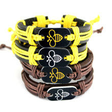Bee Bracelets Lovely Turtle Tortoise Animal Paw Fish Bone Scissors Shears Skull Charm Wax Cords Leather Jewelry Drop Shipping(China)