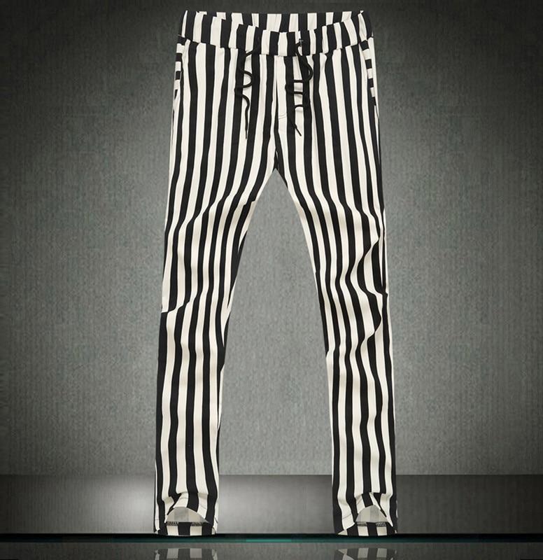 6e5ea48a7ee6 Metrosexual in Bianco E Nero A Righe Harem Pantaloni Uomo Harem Hip Hop  Dance Pantaloni Pantaloni