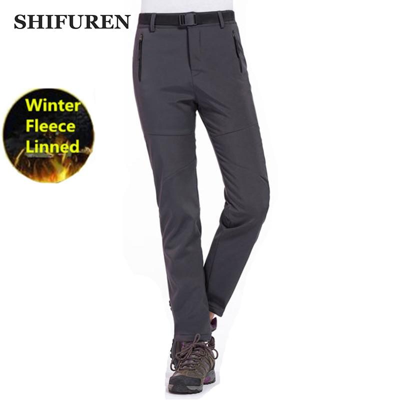 SHIFUREN Winter Women Outdoor Hiking Pants Waterproof Windproof Thermal Fleece Softshell Pants Female Trekking Camping Pants цена