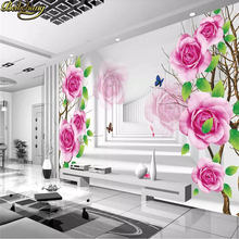 beibehang Custom photo wall stickers purple roses reflection space 3D T