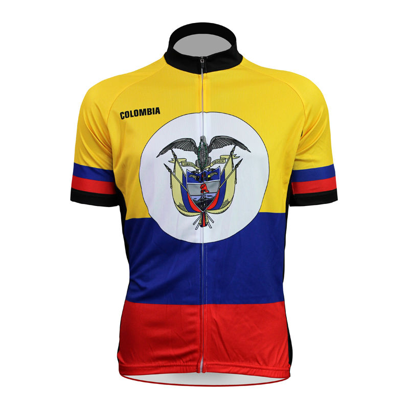 Cycling shirt bike equipment Colombian Flag Pattern Men Summer Breathable top Sleeve Bicycle Jerseys Yellow Full Zipper Cycling 2016 new men s cycling jerseys top sleeve blue and white waves bicycle shirt white bike top breathable cycling top ilpaladin