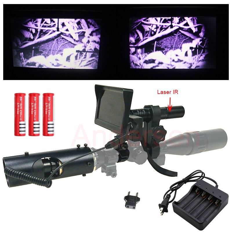 2018 Date Chasse optique sight Portée Laser Infrarouge lunette de vision nocturne avec IR lampe de Poche et LCD Écran