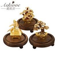24K Gold foil Money tree Feng shui Bonsai Artificial Plant Ornament Fortune tree Luxury Business Gifts Home Decor Celebration