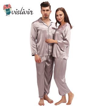Vislivin Lover Pajama Sets Silk Pajamas Loungewear Pajama Pyjamas Set Silk Nightwear Sleepwear Long Sleeve Two-Piece Suit pajamas