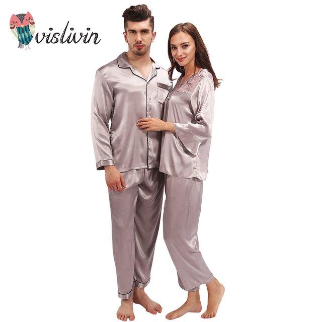 9872061308 Vislivin Lover Pajama Sets Silk Pajamas Loungewear Pajama Pyjamas Set Silk  Nightwear Sleepwear Long Sleeve Two-Piece Suit