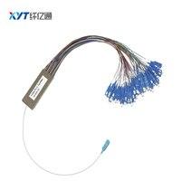 SC LC FC connector steel tube for FTTH 1x64 mini PLC Splitter Fiber optic splitter fiber length 1.5m