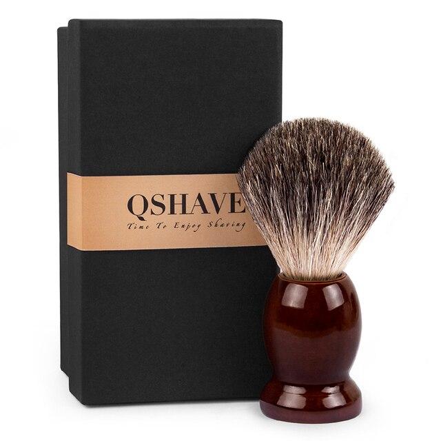 Qshave 男の純粋なアナグマ毛のシェービングブラシ木製 100% かみそりそれダブルエッジ安全ストレートクラシック安全かみそり 9.9 センチ × 4.6 センチ