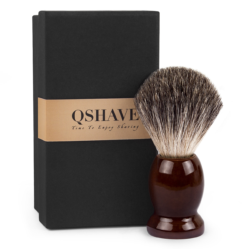 Qshave Man Pure Badger Hair Shaving Brush Wood 100% For Razor Double Edge Safety Straight Classic Safety Razor Brush