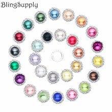 Free shipping 20mm pearl rhinestone button flatback mix colors 20PCS/lot(BTN-5305) free shipping 20pcs lot pic16f1936 i so 16f1936 sop28