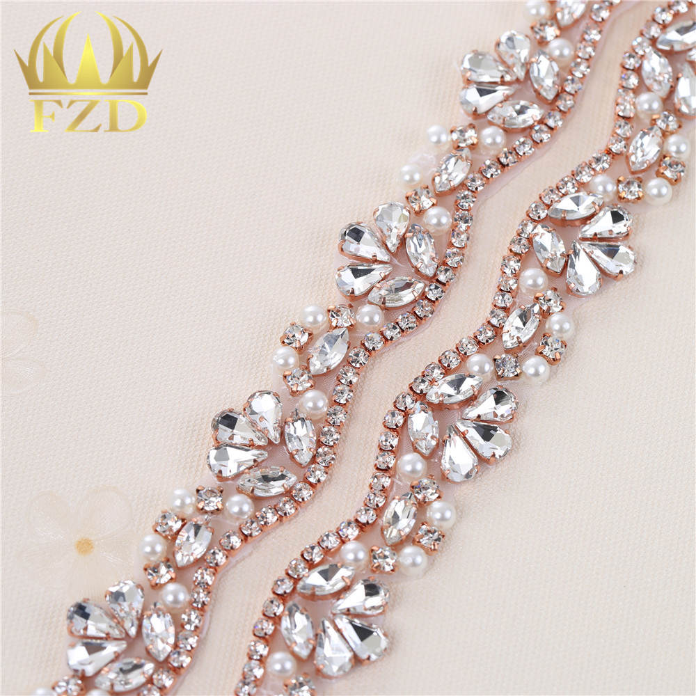 FANGZHIDI 1 Yard Rose Gold Sewing on Rhinestone Trim Crystal Beaded Applique  for Wedding Dresses Belts e1382e801ec6