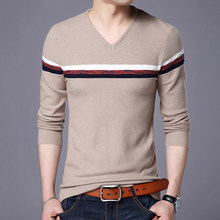 2017 New Mens Casual Slim Fit Pullover Lightweight Thin Fabric V-Neck Sweaters Chest Stripe Patterned Sweater(China)