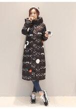 New Slim Long Thick Korean Winter Glasses Printed Hooded Jacket Women Coat Parka Womens Jackets ABC1688