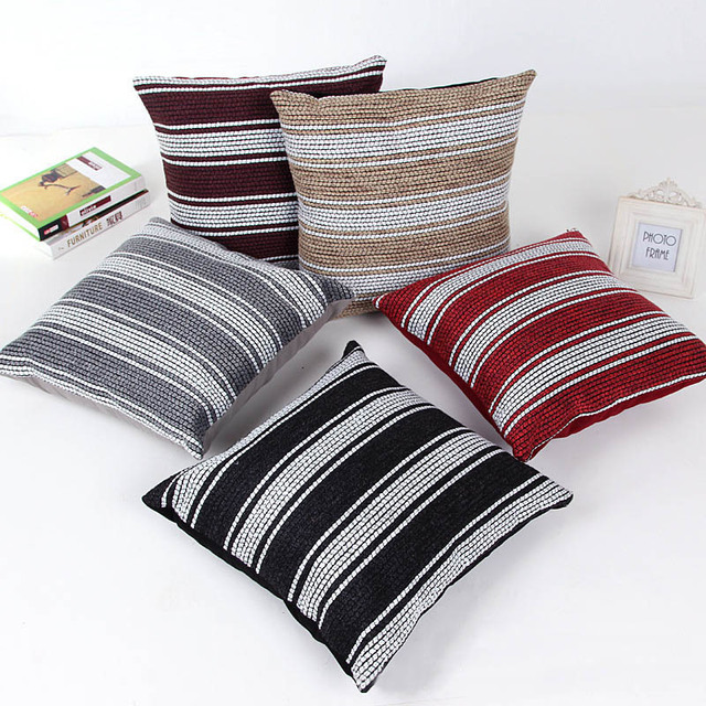 45x45cm Decorative Throw Pillow Cover White Stripe Sofa Chair Bed