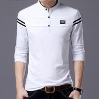 New High Quality Men Autumn Stripe Smart Casual Polo Shirts Male Classic Slim Pure Cotton Top