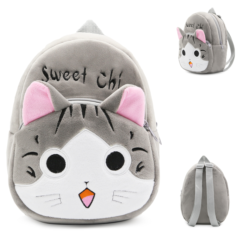 Lovely Cat Shape Backpack Cute Cartoon Animal Plush Cartoon Backpack School Bags For Toddle Kids Children Mini Bookbags  Mochila