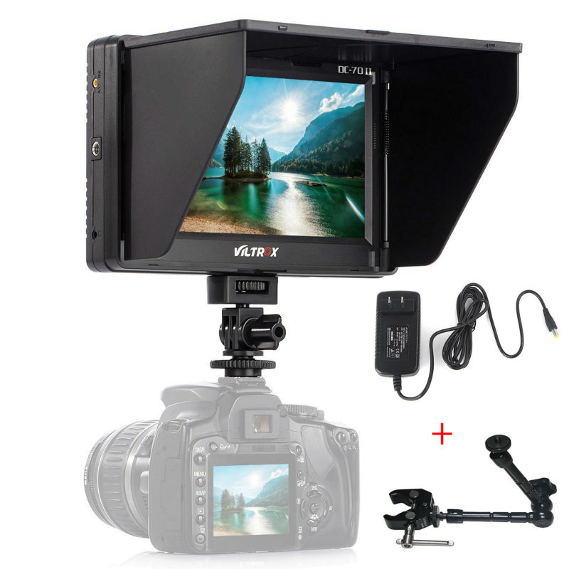 Viltrox DC-70II 7 1280 * 800 Clip-on Color TFT LCD HD Monitor HDMI AV Input with Sun Shield for DSLR Video Camera Camcorder