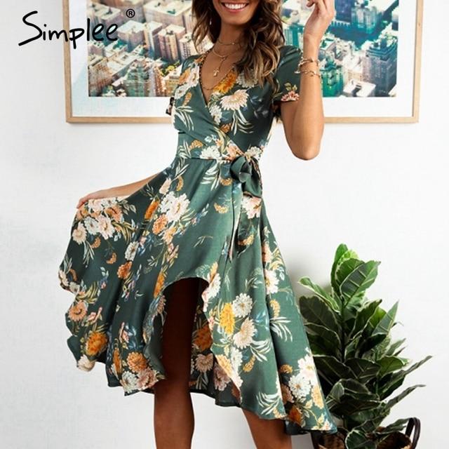 4bf77e8ad47 Simplee Elegant floral print satin women dress Wrap v neck high waist summer  dresses Sexy bow tie green casual female vestidos