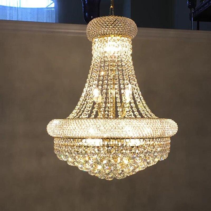 Lustre en cristal moderne éclairage pour salon chambre pendentif K9 Ac90-26V en cristal E14 ampoule LED lustres en Chrome doré
