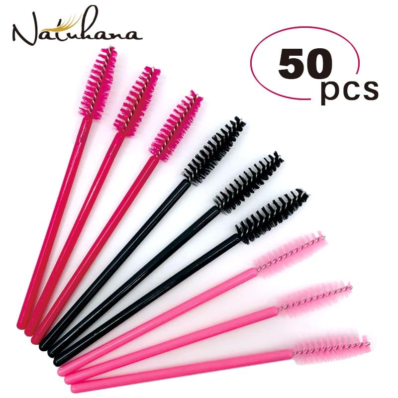 50Pcs Disposable Micro Eyelash Comb Brush Spoolers Makeup Kit Lash Extension Brushes Mascara Applicator Wand Lash Eyebrow Brush