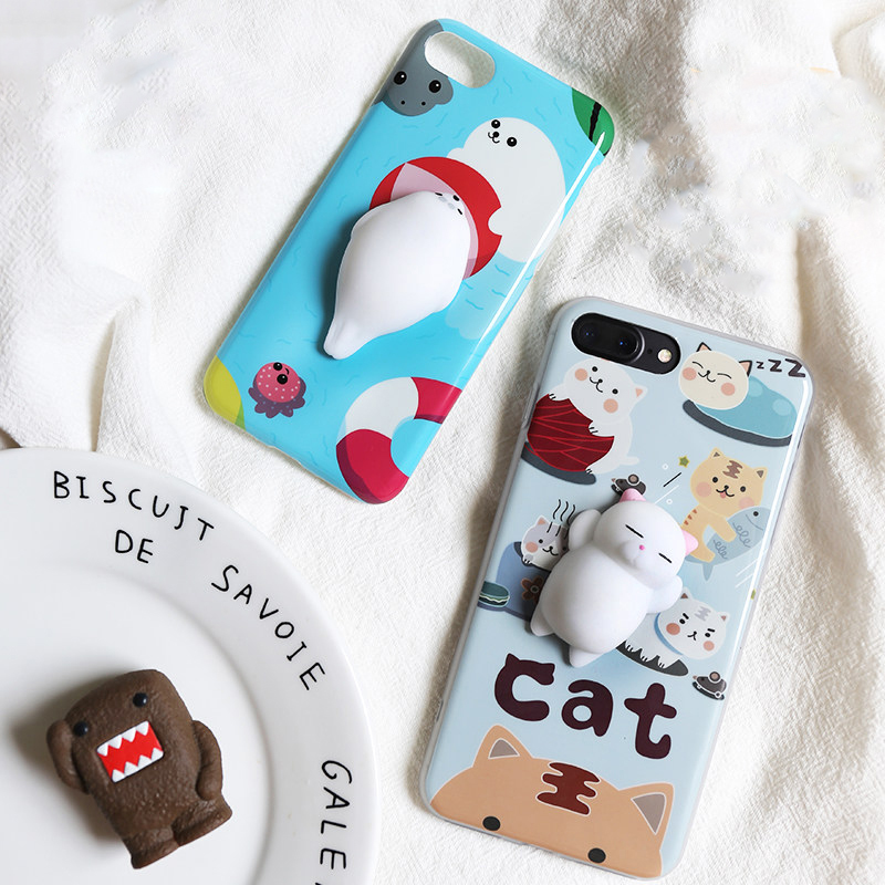 buy online 5701c 5b811 US $3.99 |Squishy Cat Phone Case For iPhone 7 7 Plus 6S 6S Plus 6 6 Plus  Pover Cartoon 3D Cute Housing Soft Silicone Gel Shell Coque on  Aliexpress.com ...