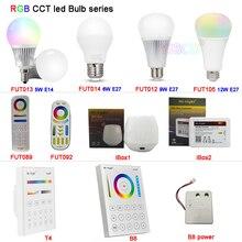 Miboxer FUT013/FUT014/FUT012/FUT105 5W 6W 9W 12W E14 E27 Smart RGB CCT led Light Blub lamp FUT092/FUT089/T4/B8 2.4G Remote