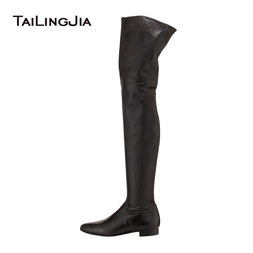 Women's Black Over the Knee High Boots Ladies Grey Faux Suede Thigh High Boots Round Toe Flat Large Size Winter Shoes 2017 the black keys the black keys el camino 2 lp