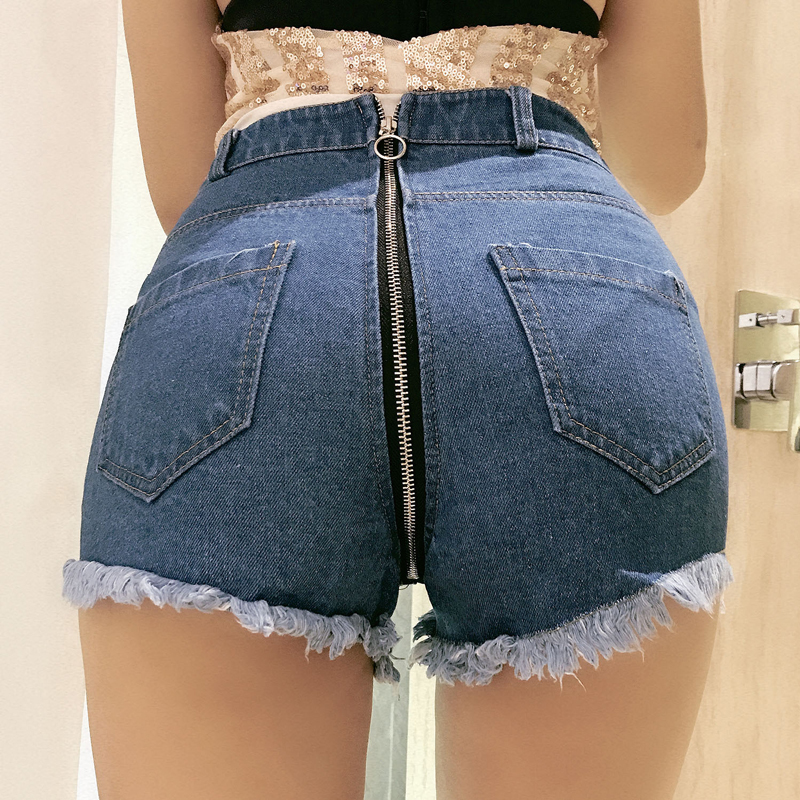 Plus Size High Waist Denim   Shorts   Female   Short   Jeans Women Hollow Tassel Hot   Short   Zipper Open Crotch Denim   Shorts   F36