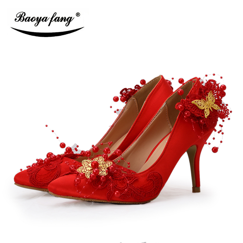 BaoYaFang Red flower Bowtie Womens wedding shoes Bride Bridesmaid dress shoes woman pointed toe 8cm low heel Pumps navy blue woman bridal wedding sandals med heel peep toe bride bridesmaid lady evening dress shoes white ivory pink red hp1623