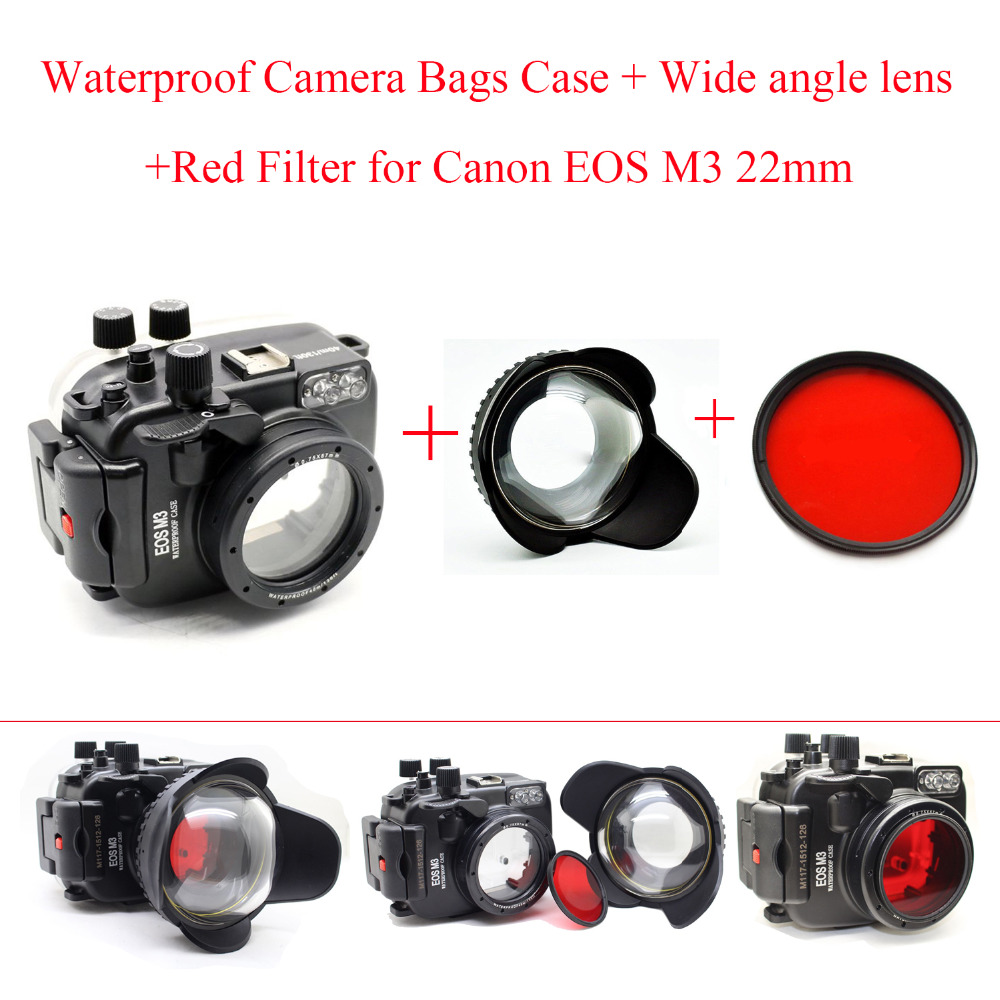 Meikon 40m/130ft Underwater Camera Housing Case for Canon EOS M3 (22mm),Waterproof Camera Bags Case + Wide angle lens+Red Filter 40m 130ft waterproof underwater camera housing case cover bag for canon eos 600d t3i camera two hands tray