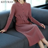 2018 Hot Sale Women Long Sleeve Knitted Button Dress Autumn Winter sweater Dresses Ladies turndown collar Casual Party Dress