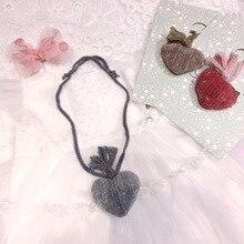 Korea Handmade Cute Velvet Heart Tassel Kids Children Girls Necklaces Apparel Accessories Gifts-SWCGNL106F
