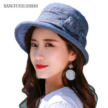 2019 New Summer Solid Flat Chic Cotton Bucket Hat with Bowknot Women Vintage Street Fisherman Caps Harajuku Hats