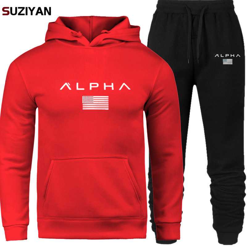 Men Sets Print Alpha Sweatsuit Tracksuit 2019 Brand Sporting Suit Tracksweat Large Size Male Sportswear Jackets Hoodie And Pants