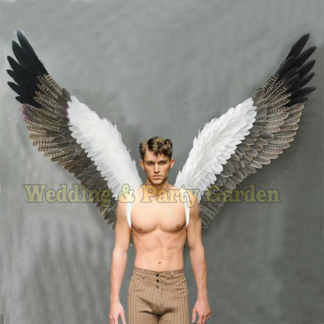 Costumed beautiful white grey cartoon feather angel wings for Fashion show Displays wedding shooting props Cosplay
