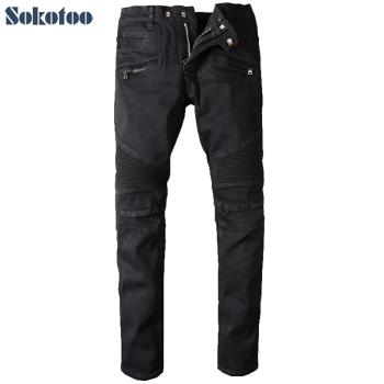Sokotoo Men's big size black biker jeans for moto Casual classic stretch denim pants Long trousers