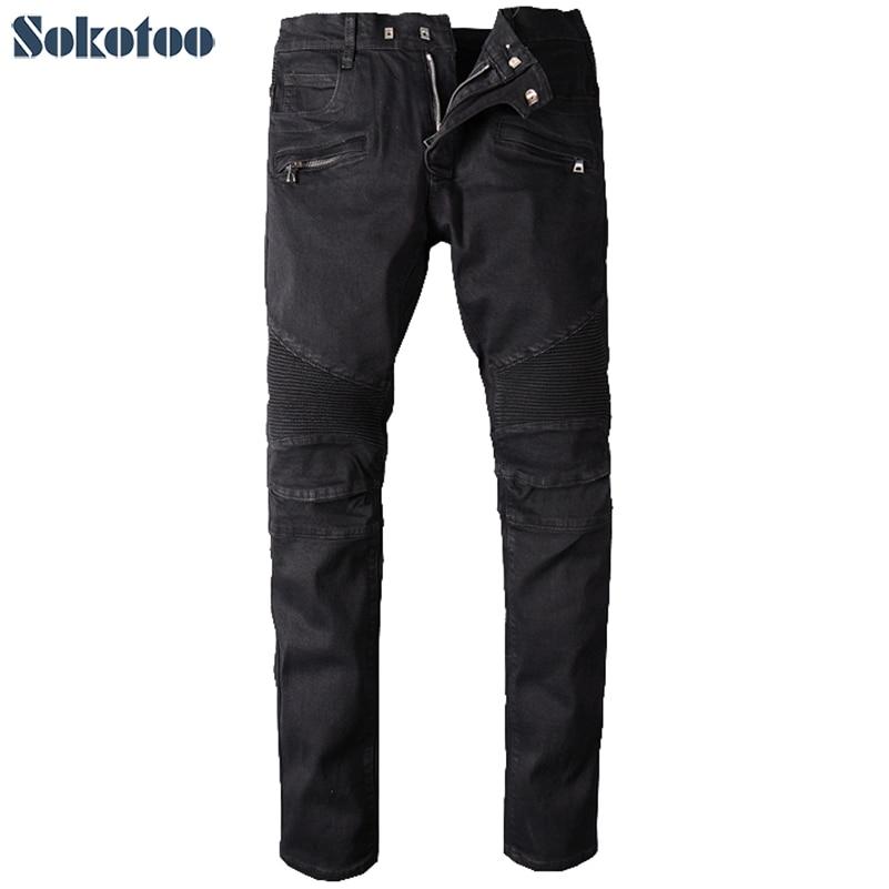 Sokotoo Men's big size black biker jeans for moto Casual classic stretch denim pants Long trousers