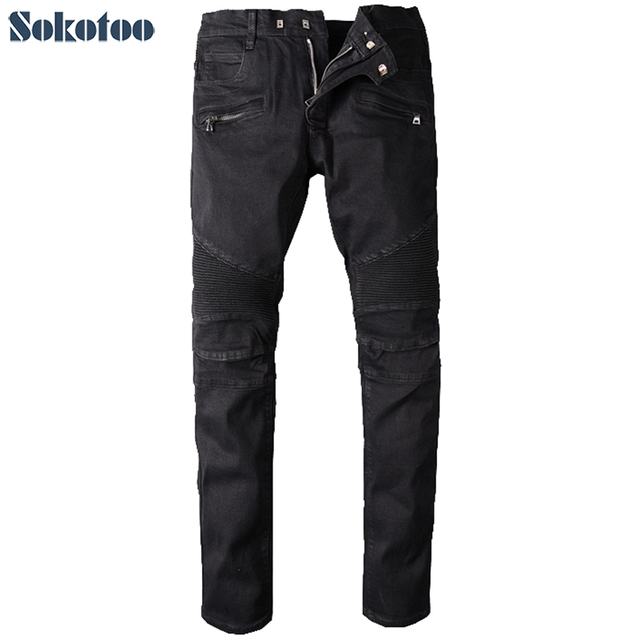 Sokotoo для мужчин большой Размеры черный байкер джинсы для женщин moto повседневное классический стрейч джинсовые штаны длинные