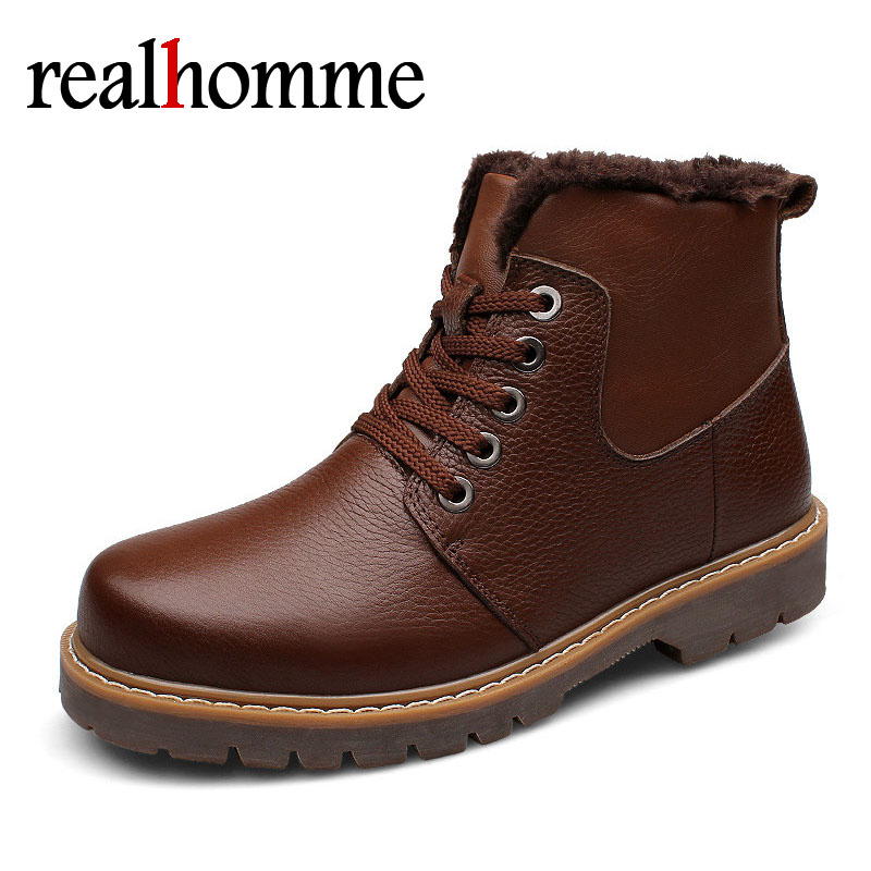 RealHomme 2018 Casual Leather Boots Genuine Leather Men Shoes Fashion Male Shoes Winter Ankle Boots Male Boots Winter Men Shoes candino c2078 1