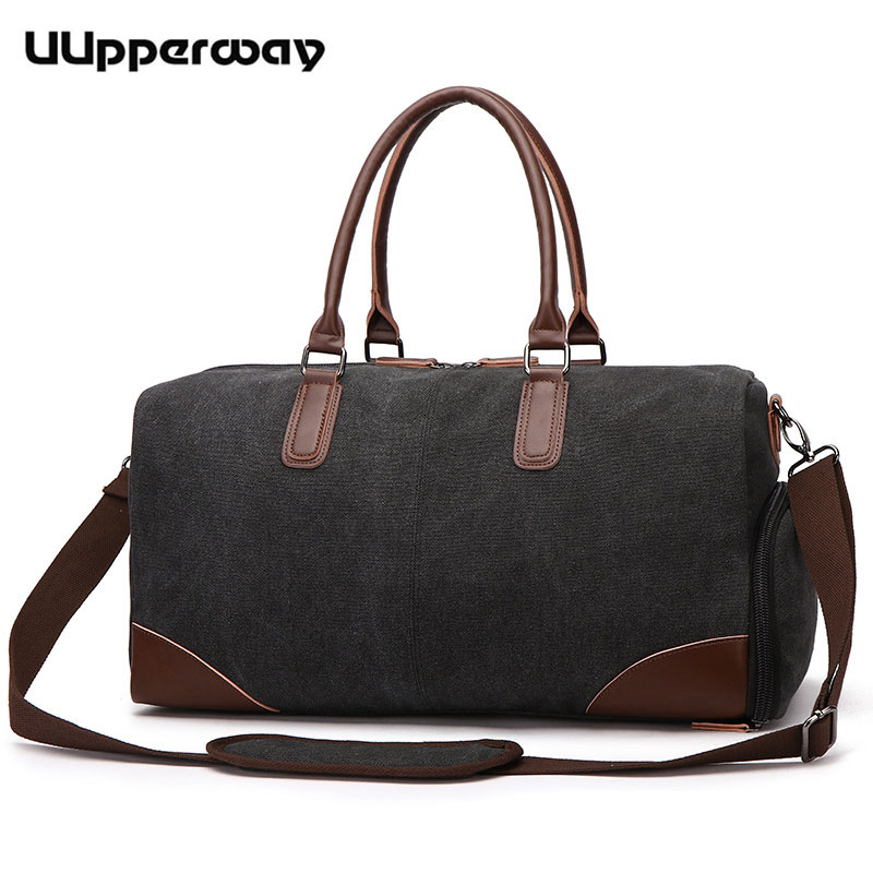 New Travel Bag Canvas Shoulder Duffel Bag Leather Top Handle Business Trip Carry on Weekend Clothing Bag Large Capacity Handbags