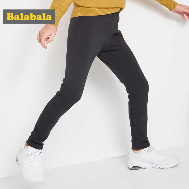 Balabala בנות צמר מרופד למשוך-על מכנסיים עם רקמת ילדה מכנסיים רצים מכנסיים עם חגורה אלסטית חורף
