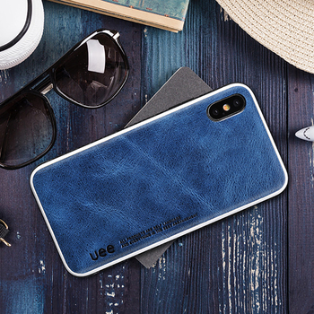 De cuero genuino para iphone 7 caso de negocios de moda caja del teléfono para iphone 8 plus X XS X color sólido resistencia al choque de protección caso