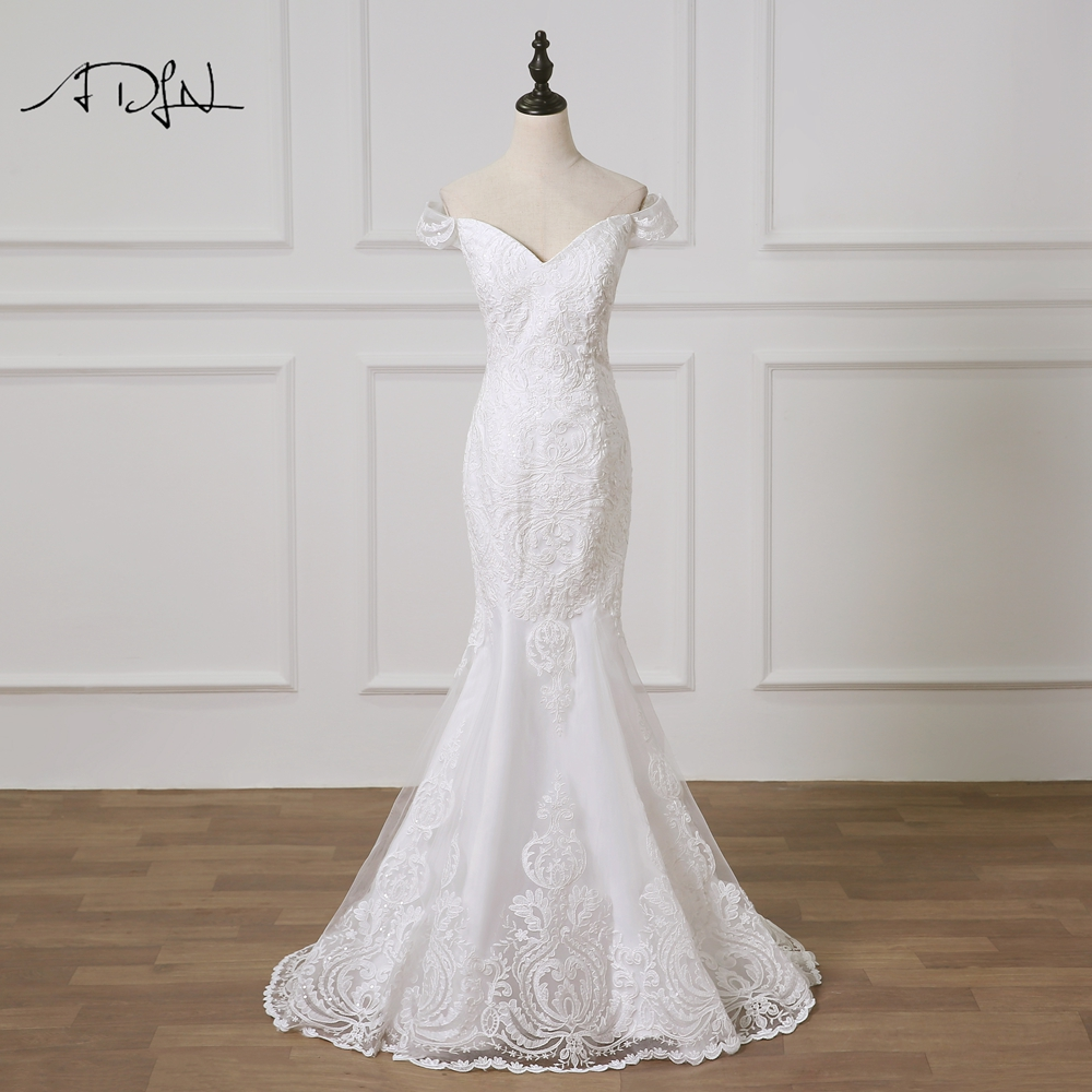 Detachable Cathedral Train Wedding Gown: ADLN Romantic Detachable Train Wedding Dresses Mermaid Off