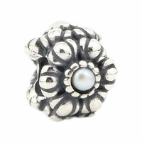 Solid 925 Sterling Silver Flower Charm Bead with White Pearl Fit European Brand 3mm Bracelets & Necklaces Jewelry