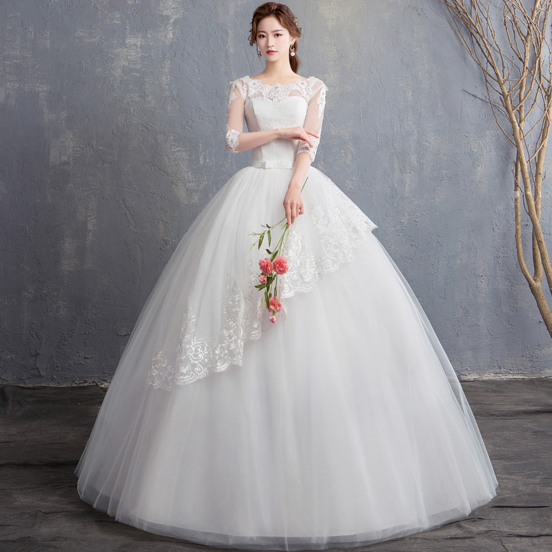 2018 New Arrival Boat Neck Sexy Lace Grenadine Half Sleeve Wedding Dress